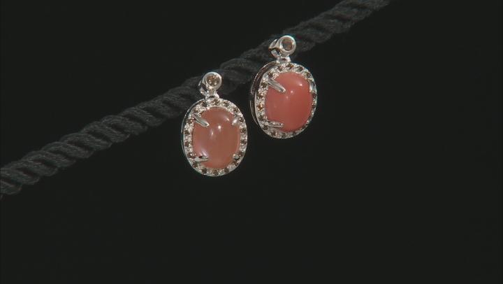Peach moonstone silver earrings .19ctw