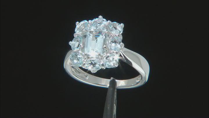 Blue aquamarine rhodium over sterling silver ring 2.64ctw