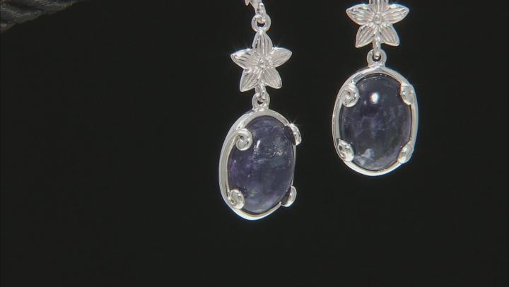 Purple Morado Opal Rhodium Over Sterling Silver Earrings