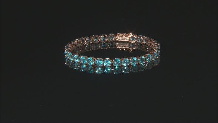 Swiss Blue Topaz 14k Rose Gold Tennis Bracelet 17.95ctw