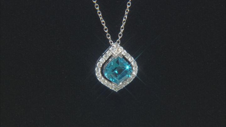 Bella Luce ® Swiss Blue Topaz & White Zircon Rhodium Over Sterling Silver Pendant With Chain