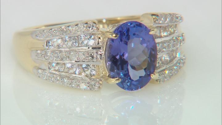 1.43ct Tanzanite With .33ctw White Sapphire And .14ctw White Diamond 10k Yellow Gold Ring