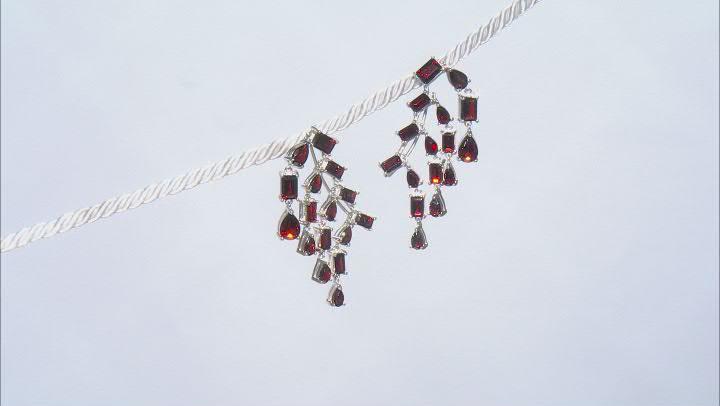 Red Garnet Sterling Silver Climber Earrings 13.15ctw