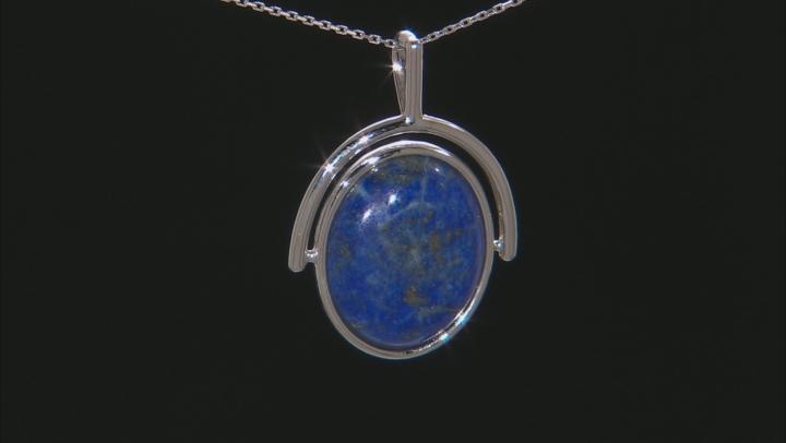 Blue Lapis Lazuli Silver Pendant With Chain