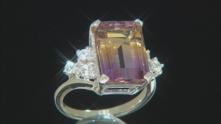 Bi-Color Ametrine Rhodium Over Sterling Silver Ring 8.24ctw