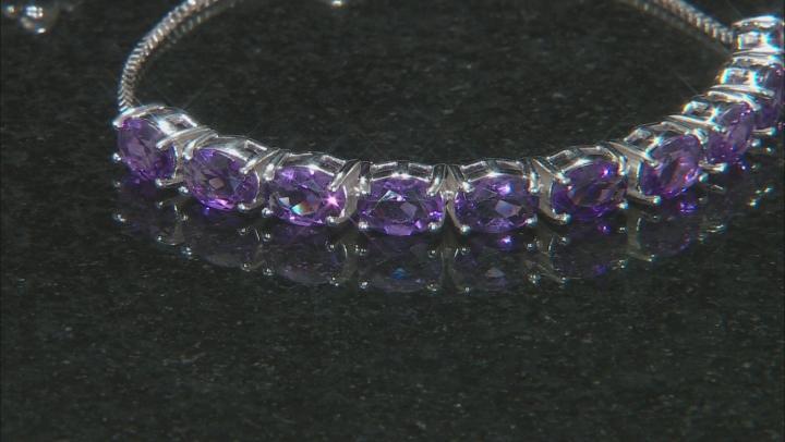 Purple Uruguayan Amethyst Sterling Silver Bolo Bracelet 5.44ctw