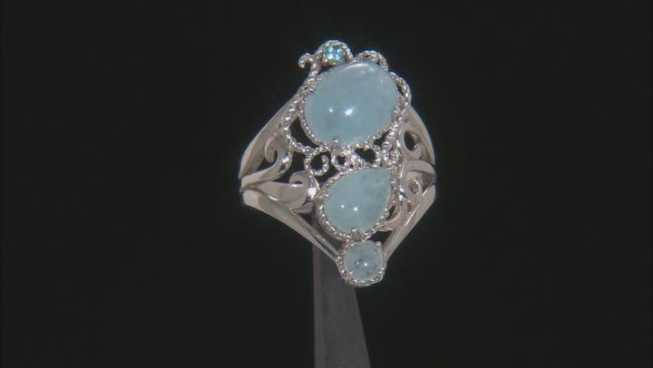 Blue Aquamarine Rhodium Over Sterling Silver Ring .03ct