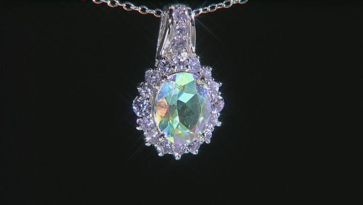 Multicolor Mercury Mist (R) Mystic Topaz® Silver Pendant With Chain 3.49ctw