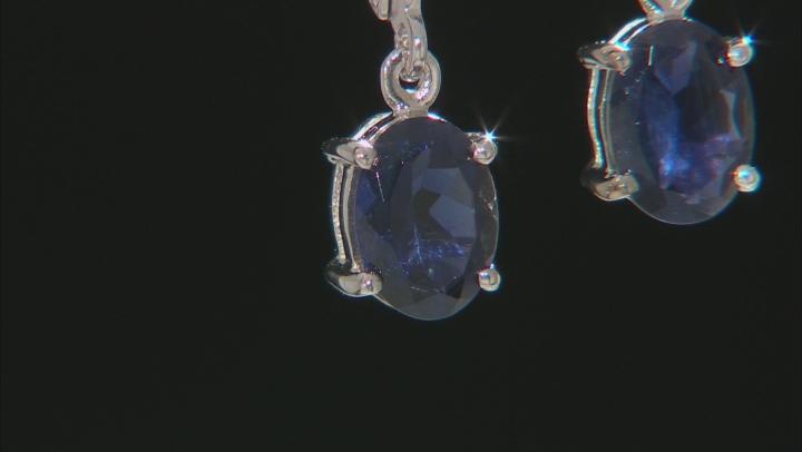 Purple Iolite Rhodium Over Sterling Silver Dangle Earrings 1.68ctw