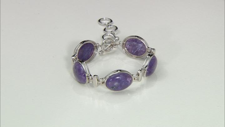 Purple Russian Charoite Rhodium Over Sterling Silver Bracelet