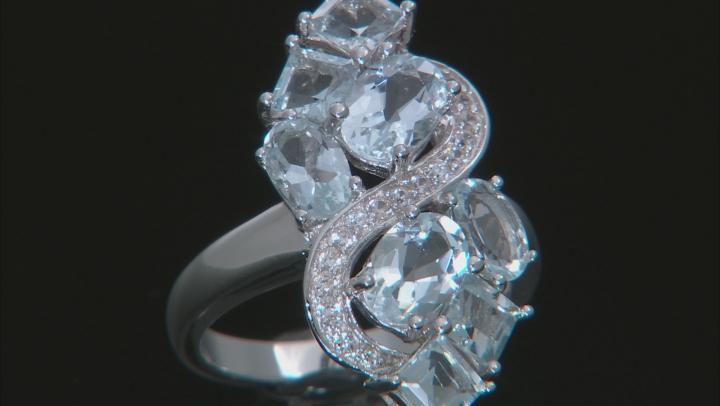 Blue Aquamarine Sterling Silver Ring 3.82ctw