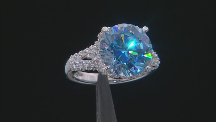 Blue & White Zirconia From Swarovski ® Rhodium Over Sterling Silver Center Design Ring 13.01CTW