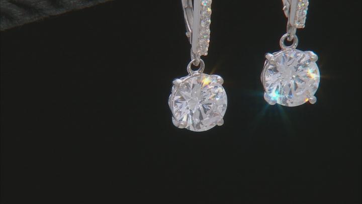 White Zirconia From Swarovski ® Rhodium Over Sterling Silver Dangle Earrings 7.36ctw