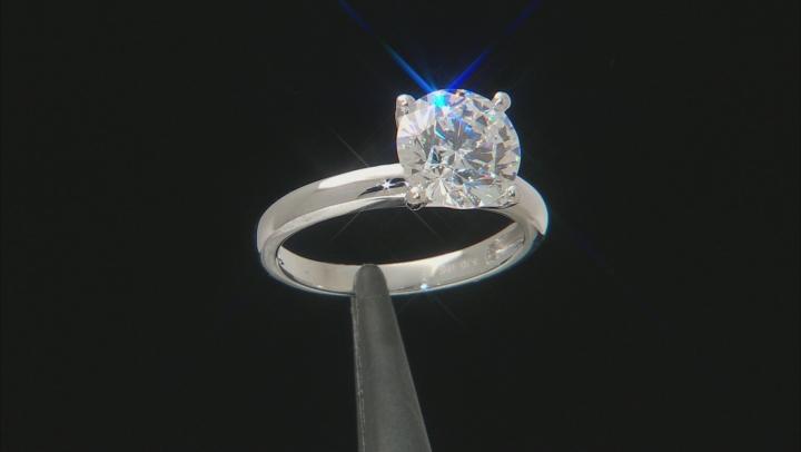 White Zirconia From Swarovski ® 10K White Gold Solitaire Ring 4.81ctw