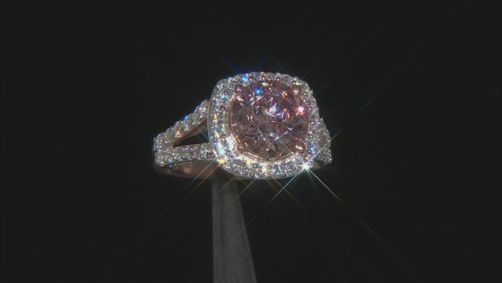 Swarovski ® Morganite Color & White Cubic Zirconia 18K Rose Gold Over Sterling Silver Ring 10.00ctw