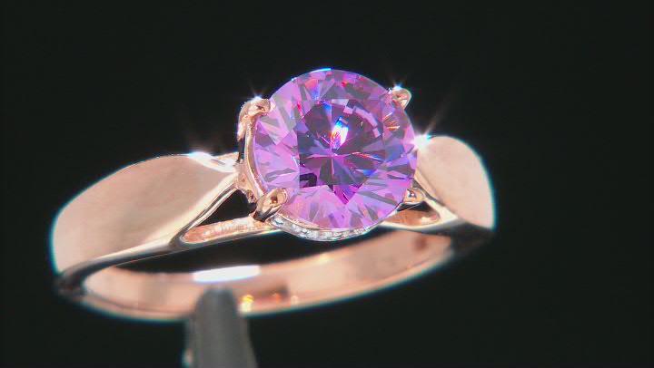 Swarovski ® Purple & White Cubic Zirconia 18K Rose Gold Over Sterling Silver Ring 3.51ctw