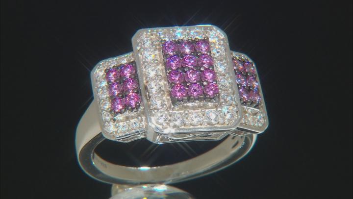 Swarovski ® Fancy Purple & White Zirconia Rhodium Over Sterling Silver Ring 2.14ctw