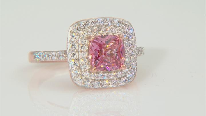 Swarovski ® Fancy Pink & White Zirconia 18K Rose Gold Over Sterling Silver Ring 4.00ctw