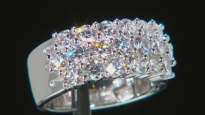 Swarovski ® White Zirconia Rhodium Over Sterling Silver Ring 3.94ctw