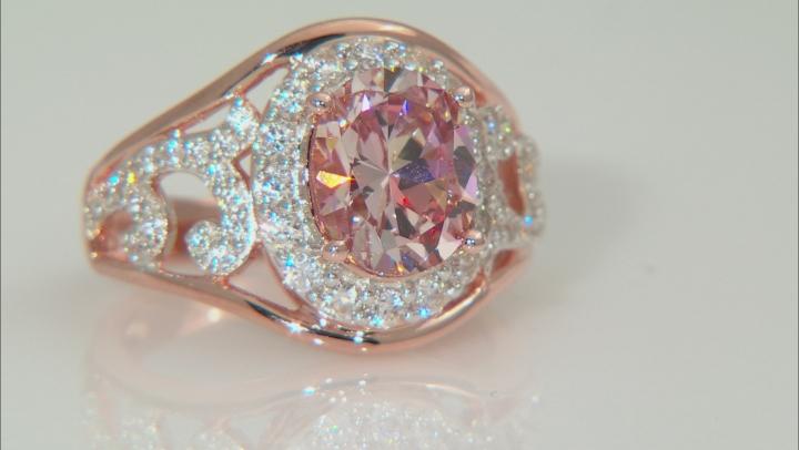 Swarovski ® Morganite Color & White Cubic Zirconia 18K Rose Gold Over Silver Ring 5.71CTW