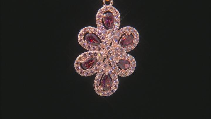 Swarovski ® Fancy Morganite & Red Zirconia 18K Rose Gold Over Silver Pendant With Chain 2.72CTW