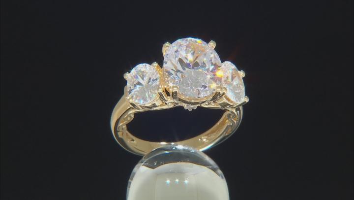 Swarovski ® White Zirconia 18K Yellow Gold Over Sterling Silver Ring 12.73CTW