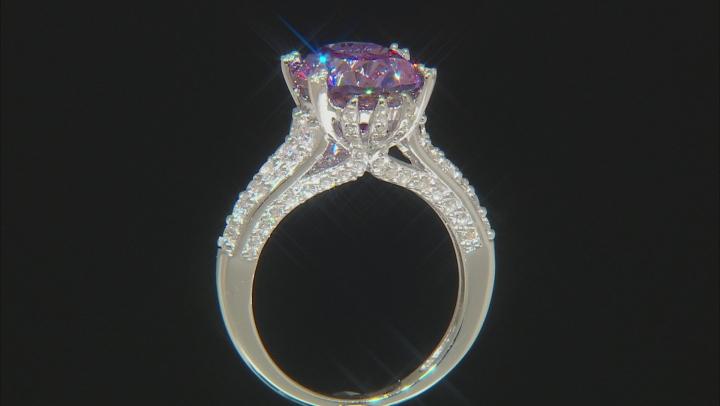 Swarovski ® Fancy Purple & White Zirconia Rhodium Over Silver Ring 10.32CTW