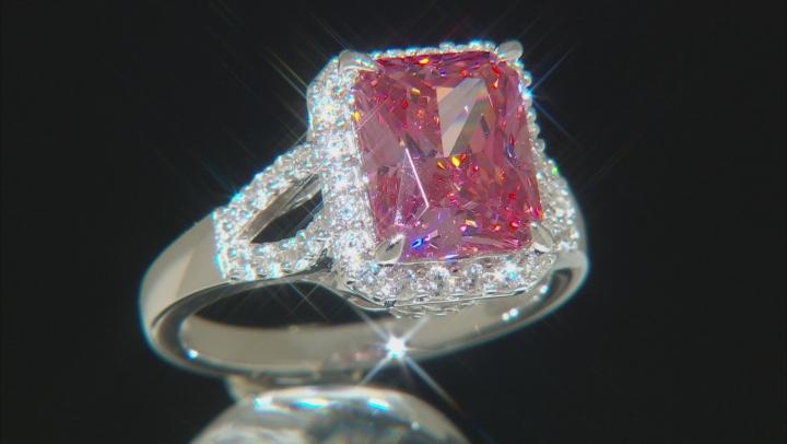 Swarovski (R) Fancy Pink and White Zirconia Rhodium Over Sterling Ring 9.32ctw