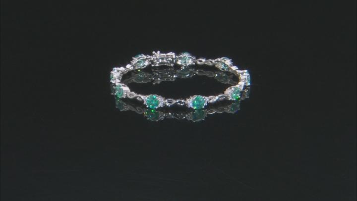 Swarovski® Green And White Zirconia Rhodium Over Silver Bracelet 19.28ctw (11.2ctw DEW)