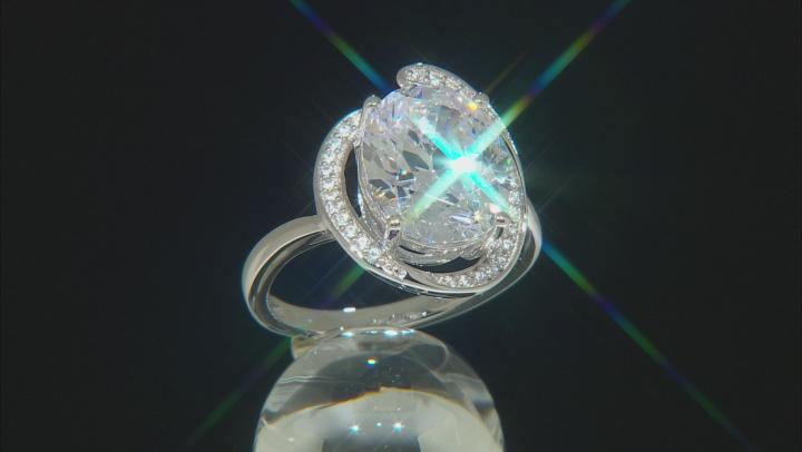 White Zirconia from Swarovski ® Rhodium Over Sterling Silver Ring 8.89ctw