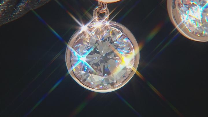 White Zirconia From Swarovski ® 18k Rose Gold Over Sterling Silver Dangle Earrings 8.89ctw