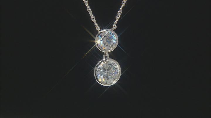 White Zirconia From Swarovski ® Rhodium Over Sterling Silver Necklace 8.89ctw