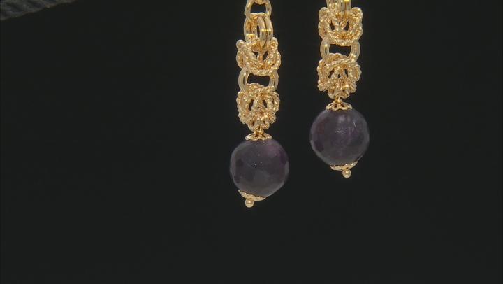 18k Yellow Gold Over Bronze Byzantine Station Bead Dangle Earrings