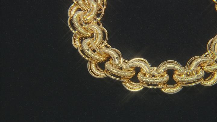 18k Yellow Gold Over Bronze Textured interlocking Rolo 9 inch Bracelet