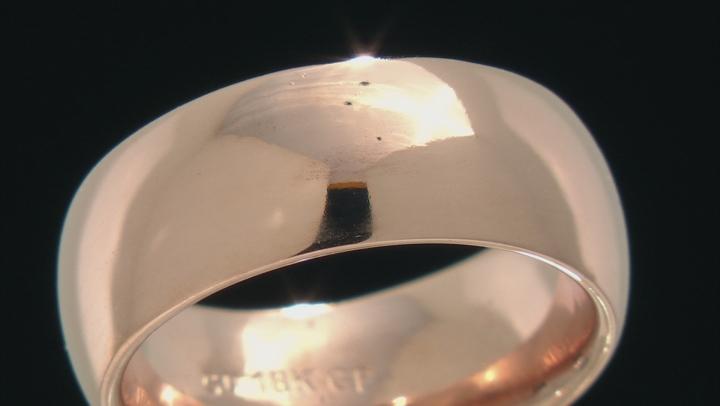18k Rose  Gold Over Bronze Comfort Fit Band Ring