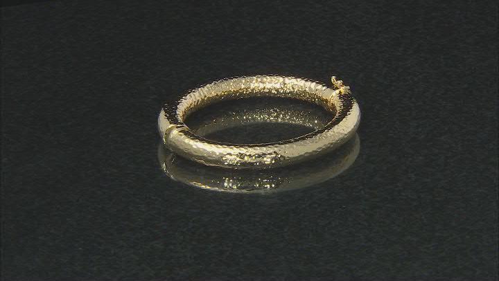 18k Yellow Gold over Bronze Hollow Diamond Cut 7 inch Bangle Bracelet