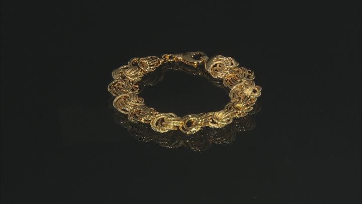 18k Yellow Gold Over Bronze Designer Rosetta Link 8.5 inch Bracelet