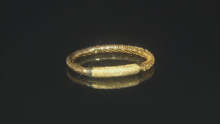 18k Yellow Gold Over Bronze Textured Mesh Weave 7 1/2 inch Bracelet