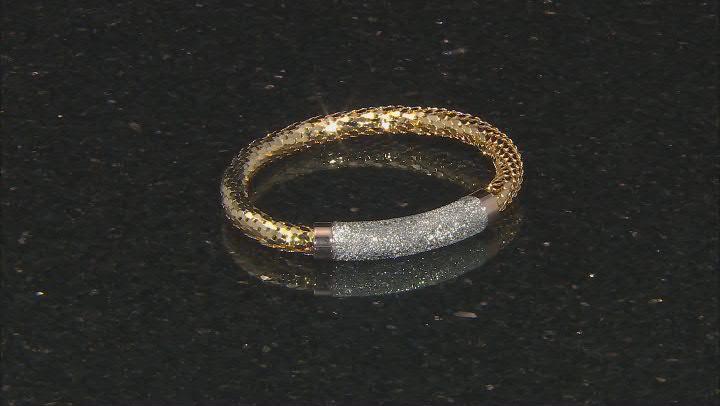 18K Yellow, Rose Gold and Rhodium Over Bronze Textured Mesh Weave Bracelet