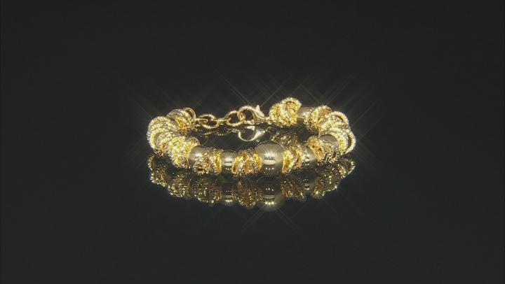 Moda Al Massimo® 18k Yellow Gold Over Bronze Designer Ball Station 8 inch Bracelet