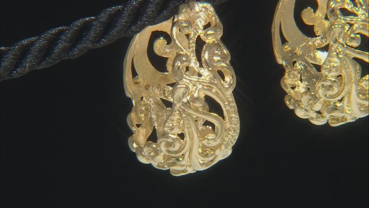 18 kt Yellow Gold Over Bronze Filigree Hoop Earrings