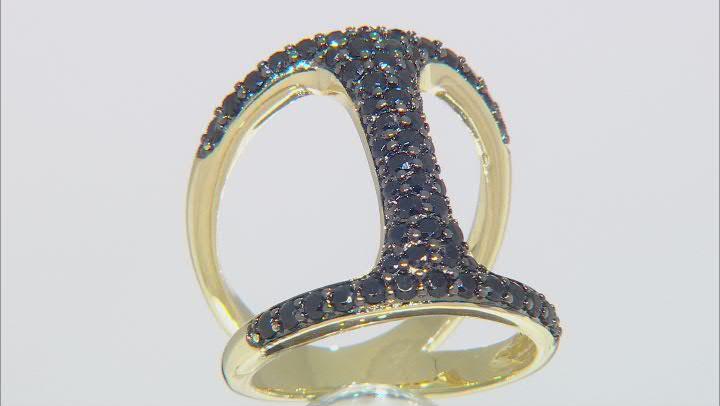 Moda Al Massimo® .90ctw Black Spinel 18k Yellow Gold Over Bronze Bar Ring