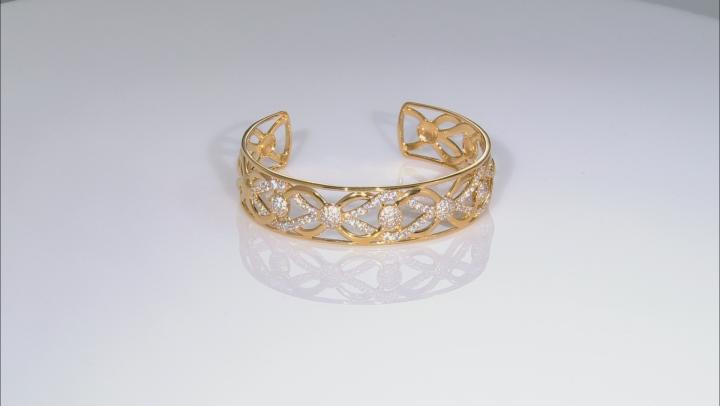 Moda Al Massimo® 18K Yellow Gold Over Bronze Cuff Bracelet 8 Inch Bella Luce® White Cubic Zirconia