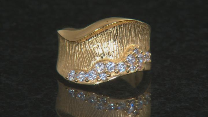 Moda Al Massimo®  Bella Luce® White Cubic Zirconia 18K Yellow Gold Over Bronze Wide Wave Band Ring