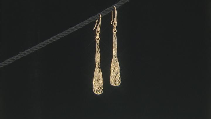 Moda Al Massimo® 18K Yellow Gold Over Bronze Diamond Cut Dangle Twist Earrings