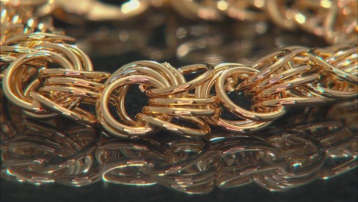 Moda Al Massimo™ 18k Yellow Gold Over Bronze Polished Rosetta Link 8.25 inch Bracelet