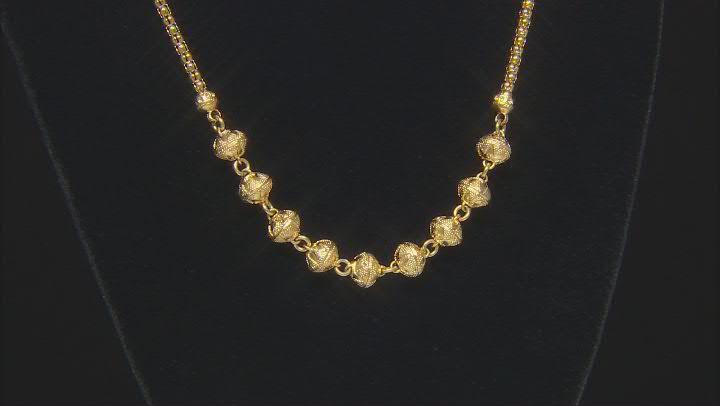 Moda Al Massimo™ 18k Yellow Gold Over Bronze Textured Bead Popcorn 22 inch Necklace