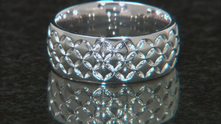Moda Al Massimo® Rhodium Over Bronze 8MM Comfort Fit Designer Weave Band Ring