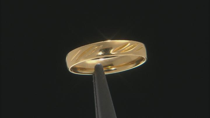 Moda Al Massimo(R) 18k Yellow Gold Over Bronze Comfort Fit 4MM Diamond Cut Band Ring