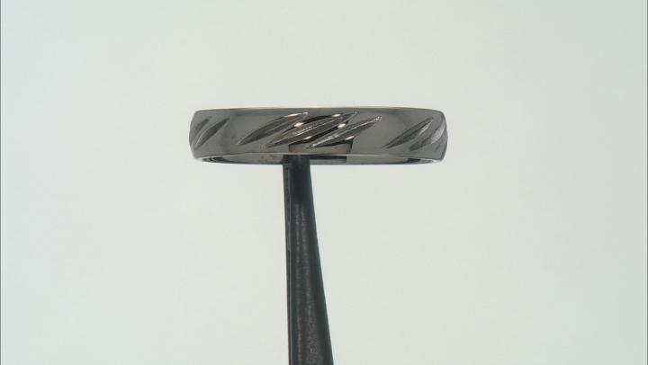 Moda Al Massimo Gunmetal Rhodium Over Bronze 4MM Diamond Cut Comfort Fit Band Ring